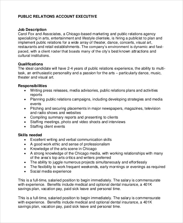 Sample Public Relations Job Description - 8+ Examples in PDF, Word - account management job description