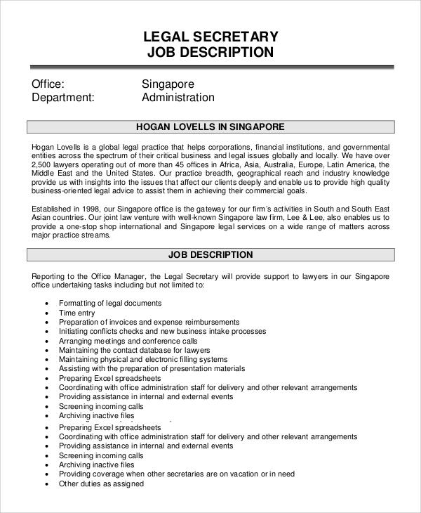 8+ Secretary Job Description Samples Sample Templates - job description template word
