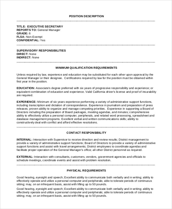 Administrative Job Description | Cover Letter Examples Student Job