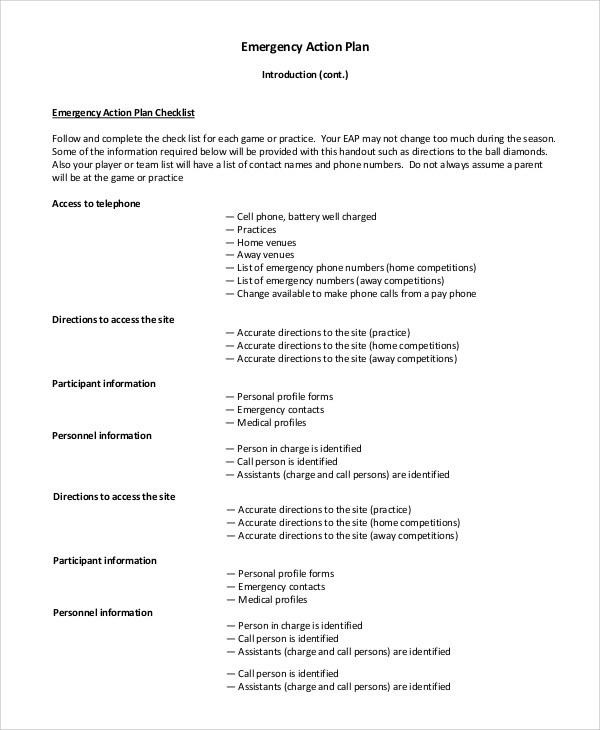 8+ Sample Emergency Action Plan in PDF, Word