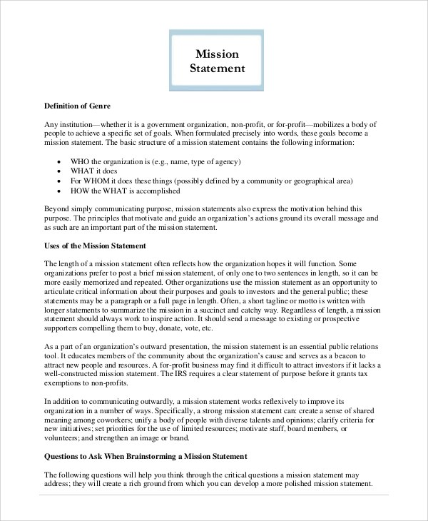 Sample Mission Statement - 8+ Examples in PDF, Word - purpose statement template