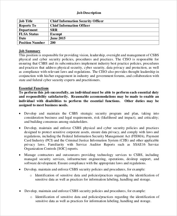 sample security officer job description 8 examples in pdf word chief engineer