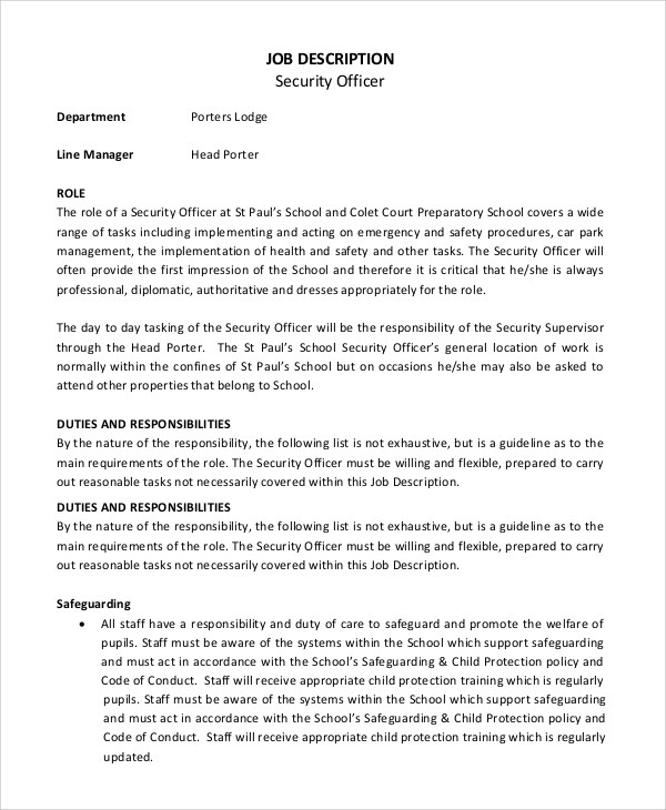 8+ Security Officer Job Description Samples Sample Templates - mall security guard sample resume