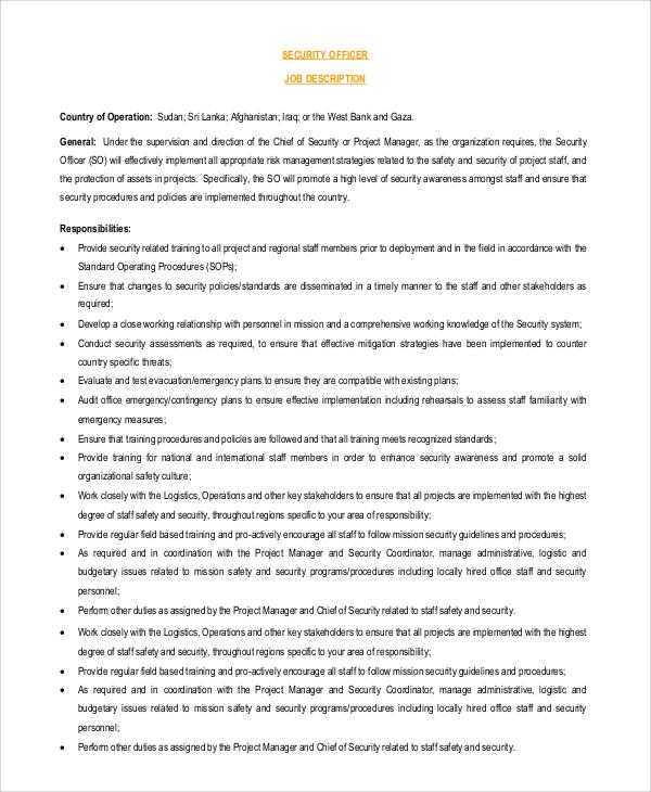 8+ Security Officer Job Description Samples Sample Templates