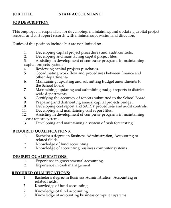 8+ Staff Accountant Job Description Samples Sample Templates - Accounting Job Titles