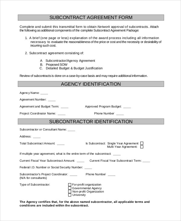 Subcontractor Agreements Hold Harmless Agreement Template Letter - subcontractor agreements