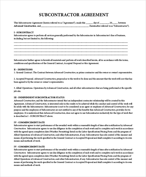 9+ Sample Subcontractor Agreements Sample Templates - subcontractor agreement