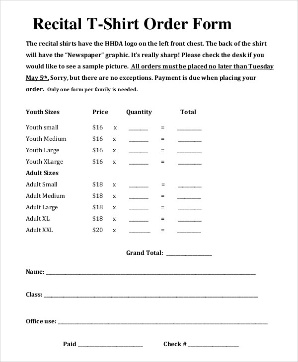 Sample T Shirt Order Form - 11+ Examples in PDF, Word