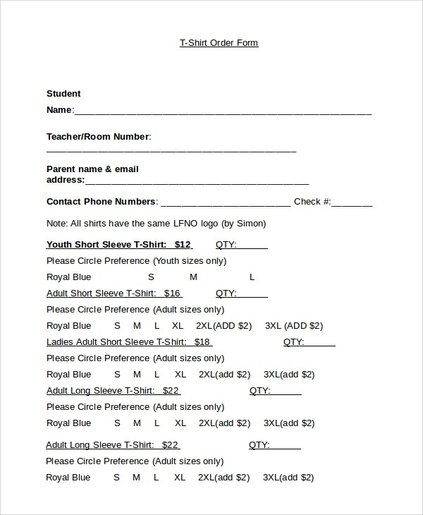 t shirt order form word - Tulumsmsender - t shirt order forms