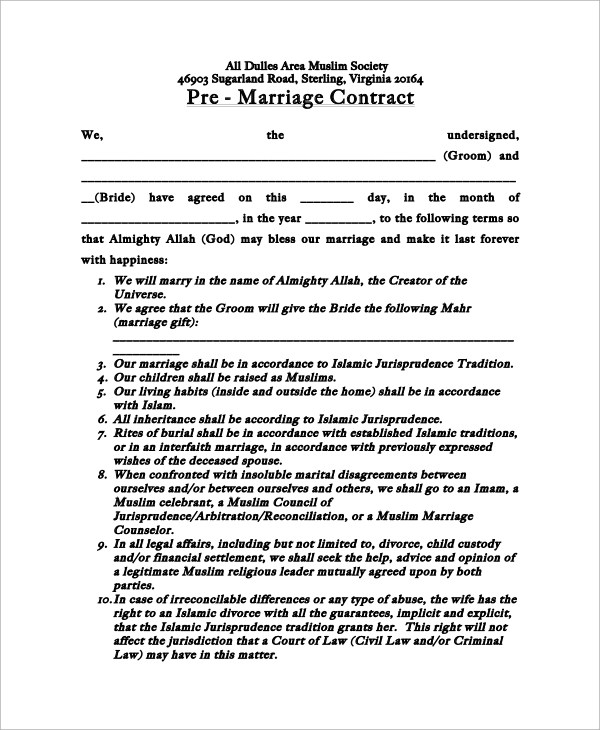 13+ Marriage Contract Samples Sample Templates - marriage contract