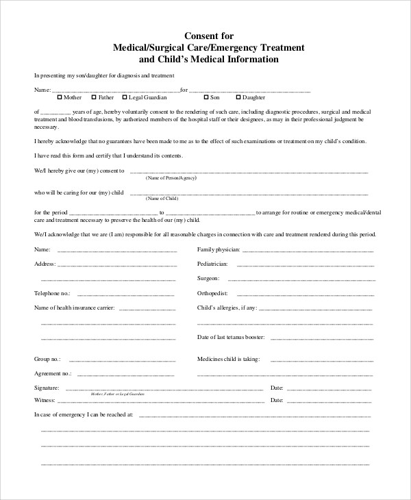 Medical Consent Form Template Templatebillybullock – Sample Medical Consent Form Example