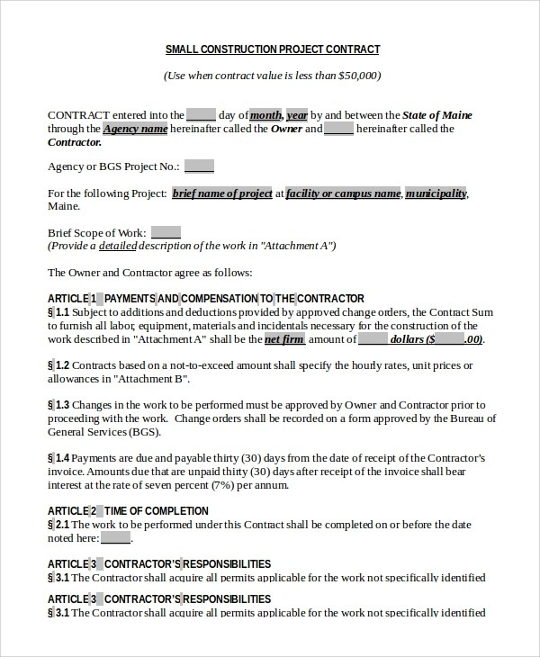 Sample Construction Contract - 8+ Examples in PDF, Word - project contract templates
