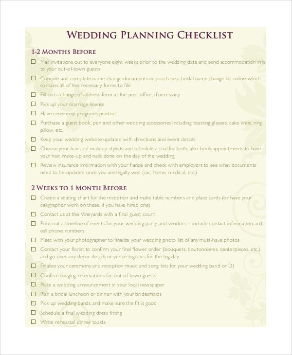 9+ Printable Wedding Checklist Samples Sample Templates - wedding checklist template