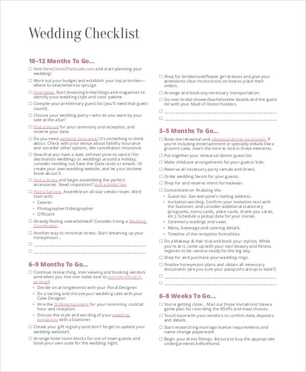 9+ Printable Wedding Checklist Samples Sample Templates - printable wedding checklist