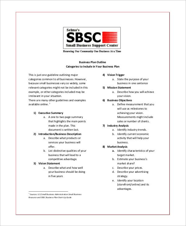 19+ Business Plan Outline Samples Sample Templates