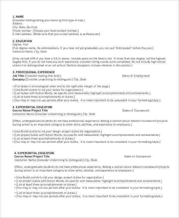 9+ Sample Chronological Resumes Sample Templates - reverse chronological resume sample