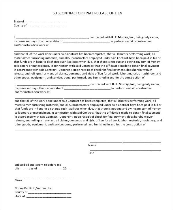 Lien Release Form Indiana Final Waiver Of Lien Indiana Lien