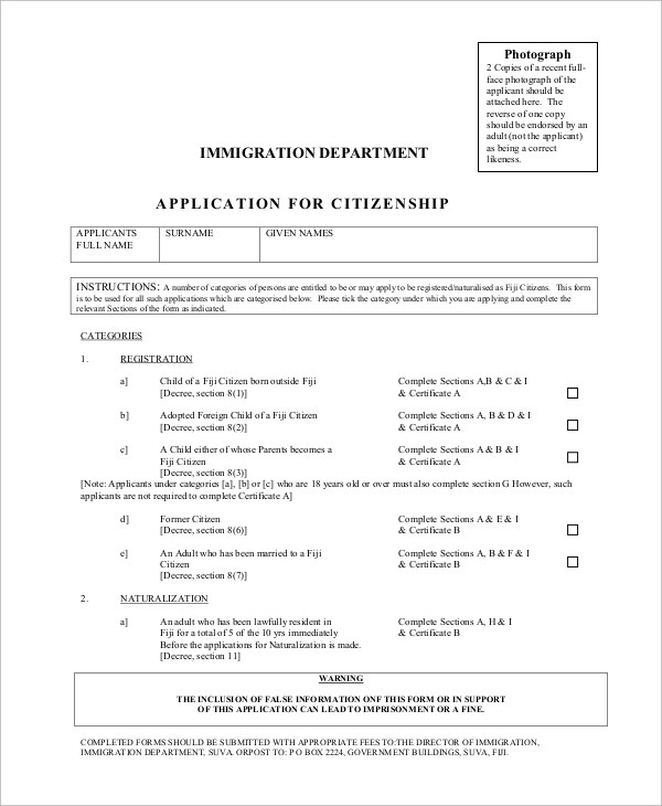 7+ Sample Citizenship Forms Sample Templates - citizenship application form