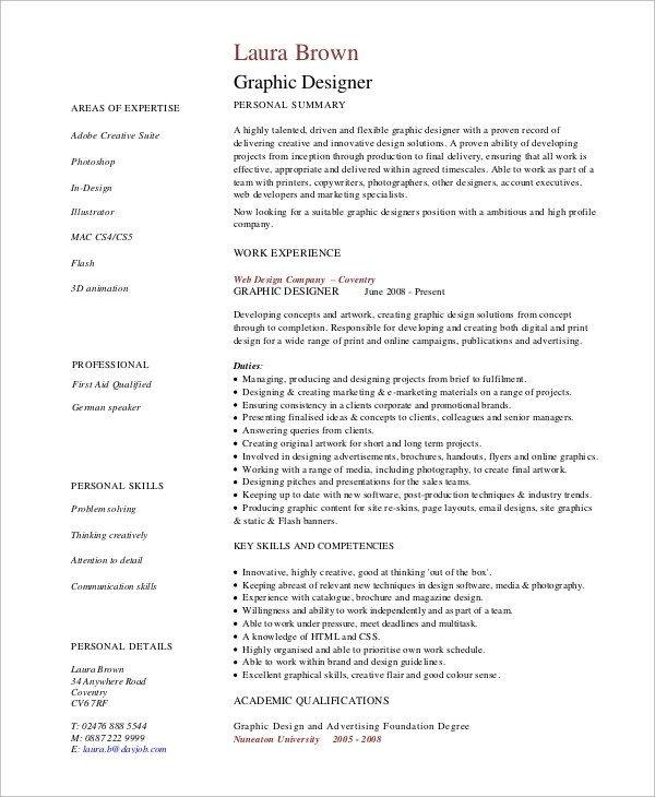 8+ Resume Examples Sample Templates - Graphic Designer Resume Objective