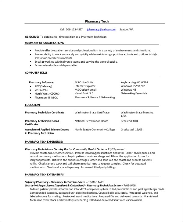 Resume Example - 9+ Samples in Word, PDF - pharmacy technician resume template