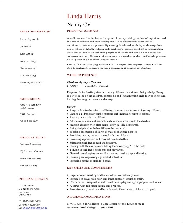 Resume Example - 9+ Samples in Word, PDF - nanny resume example