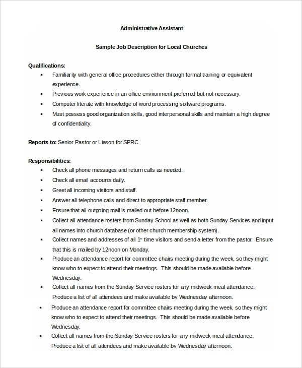 8+ Administrative Assistant Job Description Samples Sample Templates