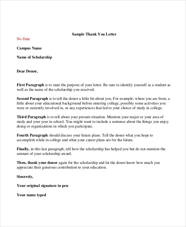 7+ Thank You Letter For Scholarship Samples Sample Templates