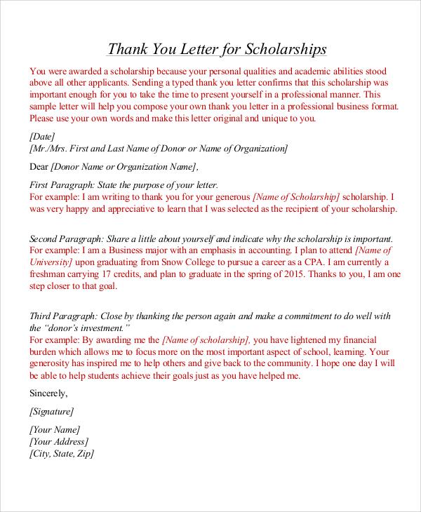 7+ Thank You Letter For Scholarship Samples Sample Templates - sample thank you letter format