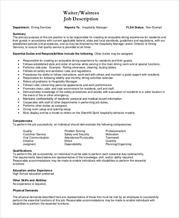resume description of waitress