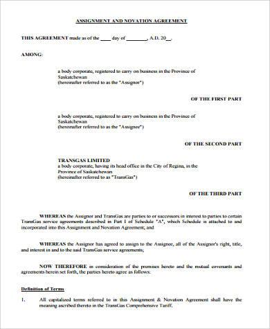 9+ Sample Novation Agreements Sample Templates