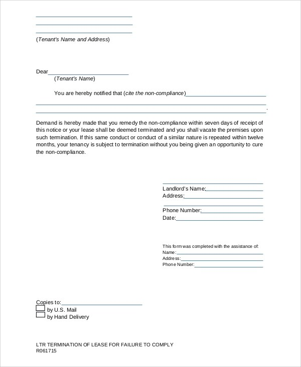 7+ Sample Lease Termination Letters Sample Templates