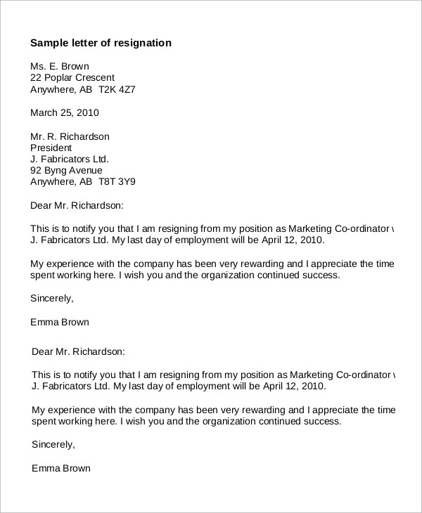 Sample Letter of Resignation - 8+ Examples in Word, PDF - free letter of resignation template