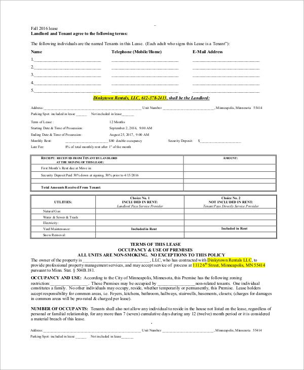 Blank Rental Lease. free printable rental agreement free ...