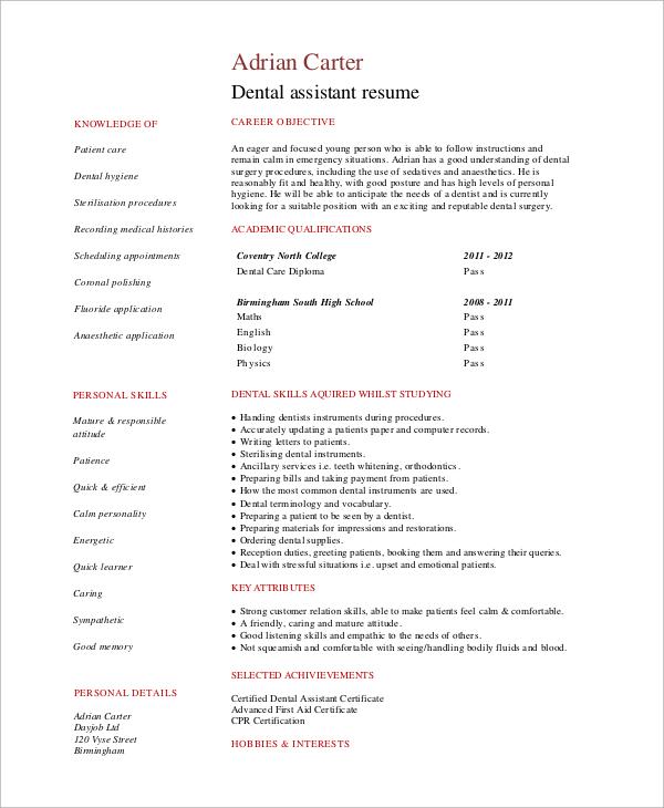 dental assistant resume resumesamples job wining dental assistant