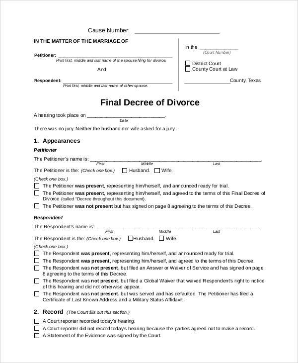 7+ Sample Divorce Forms Sample Templates - examples of divorce papers