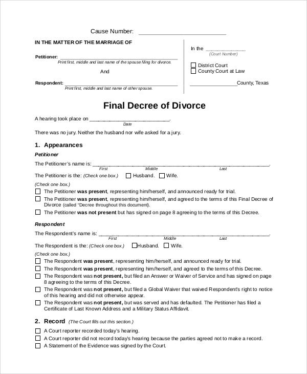final divorce decree texas form - Erkaljonathandedecker