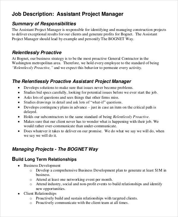 9+ Project Manager Job Description Samples Sample Templates