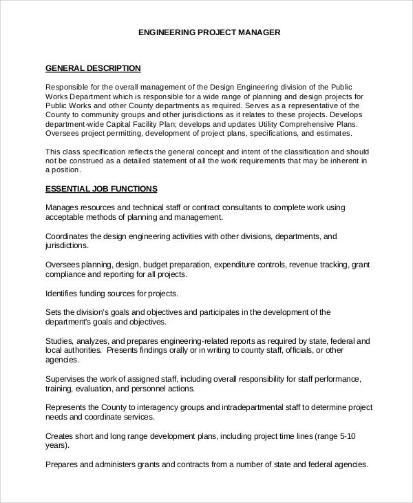construction project manager job description