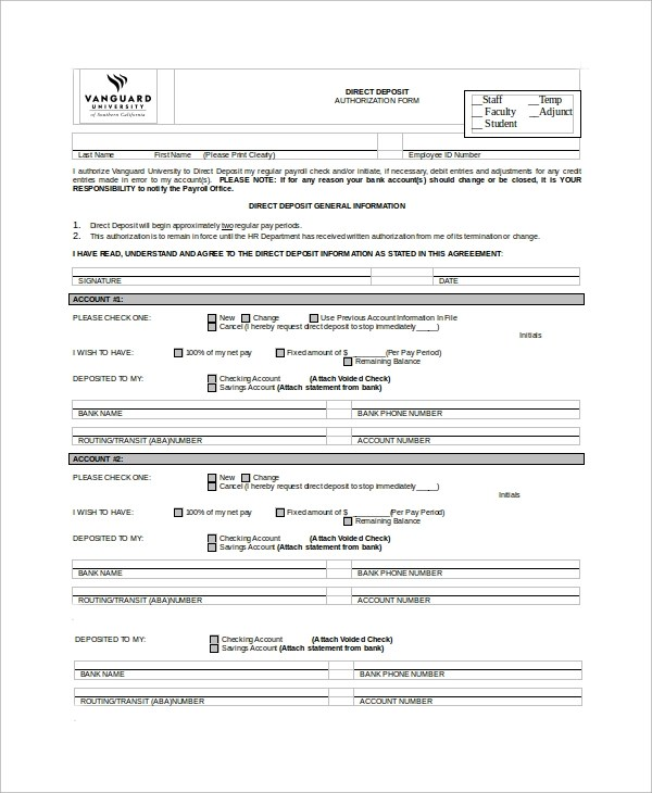 8+ Sample Direct Deposit Forms Sample Templates - direct deposit authorization form example