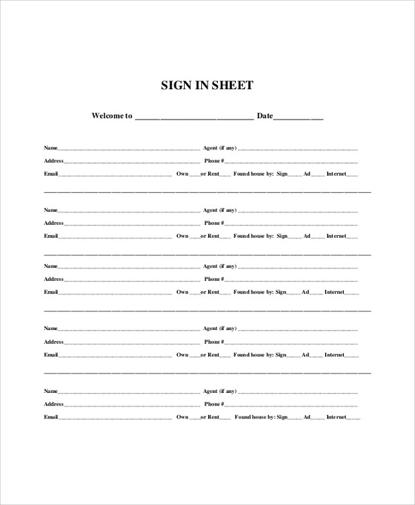 9+ Sample Sign In Sheets Sample Templates - sample open house sign in sheet template