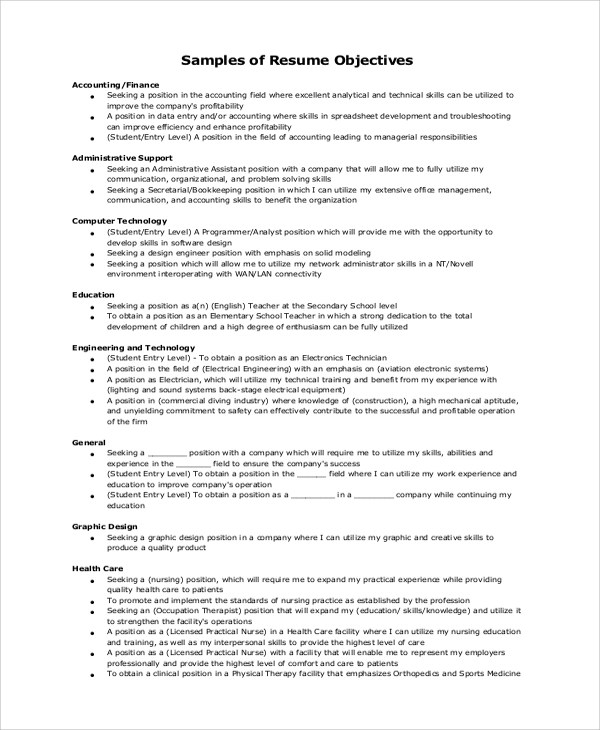Resume Objective Example - 10+ Samples in Word, PDF - Entry Level Resume Objectives