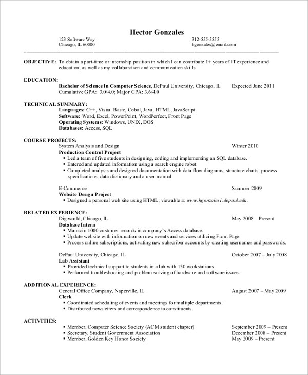Resume Objective Examples It Entry Level - Entry-Level Resume - Entry Level Resume