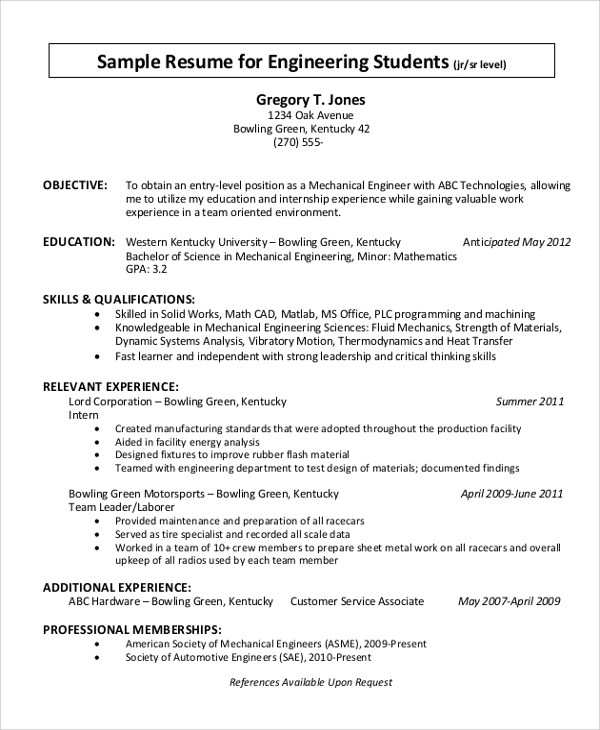 10+ Resume Objective Examples Sample Templates - entry level resume objective examples