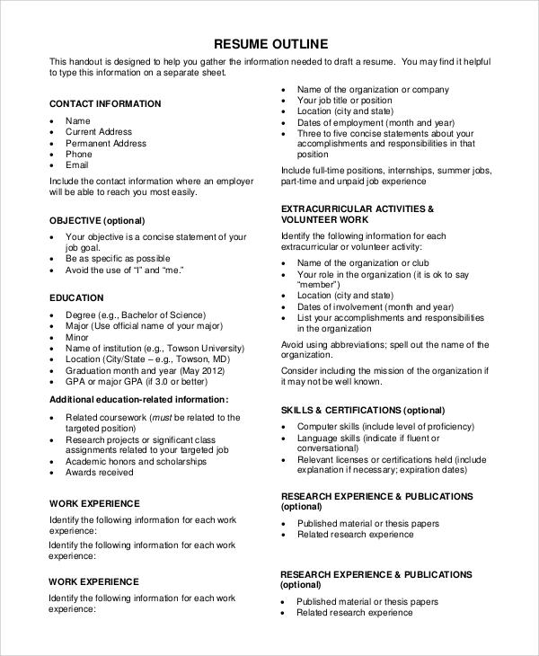 extracurricular activities resume