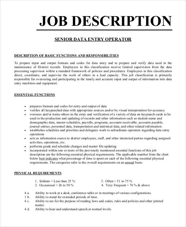 8+ Data Entry Job Description Samples Sample Templates