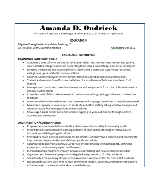 Basic Resume Example - 8+ Samples in Word, PDF - basic skills resume