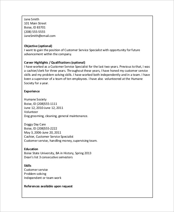 basic resume example 8 samples in word pdf example of simple resume
