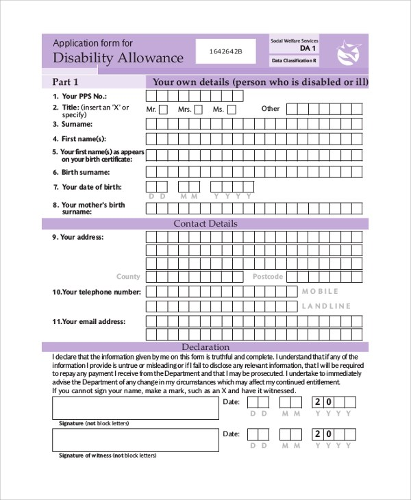 8+ Sample Social Security Application Forms Sample Templates - social security disability form