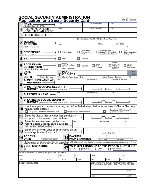 8+ Sample Social Security Application Forms Sample Templates