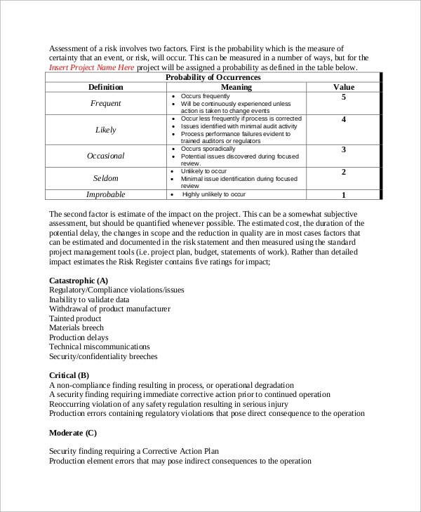 10+ Risk Management Plan Samples Sample Templates - risk management plan template